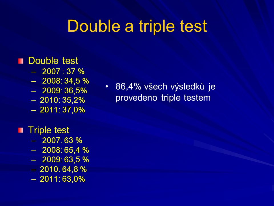 Double a triple test Double test Triple test