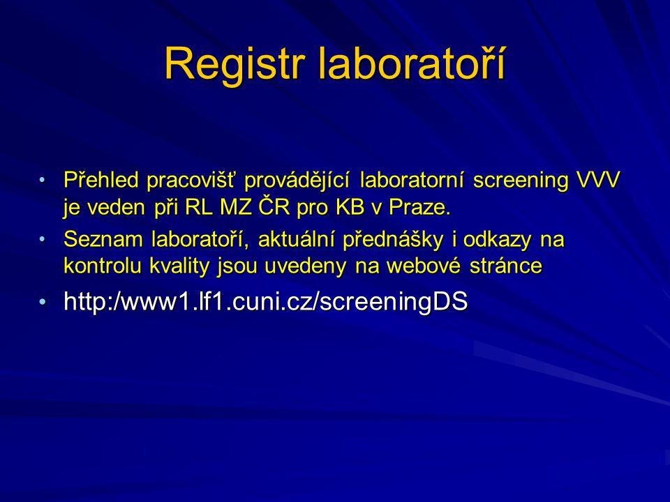 Registr laboratoří http:/www1.lf1.cuni.cz/screeningDS