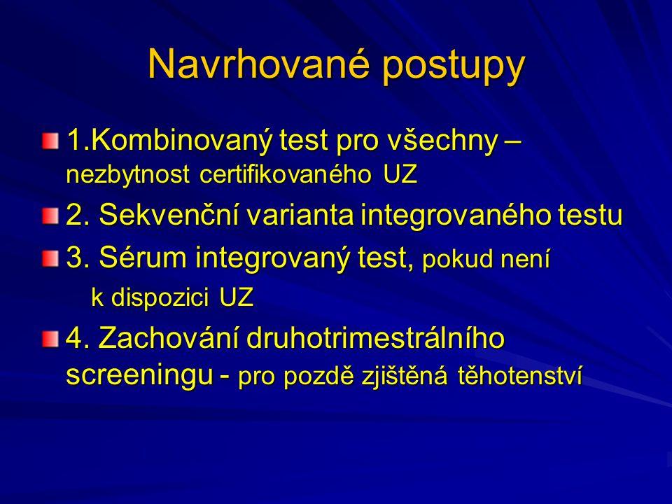 Navrhované postupy 1.Kombinovaný test pro všechny – nezbytnost certifikovaného UZ. 2. Sekvenční varianta integrovaného testu.