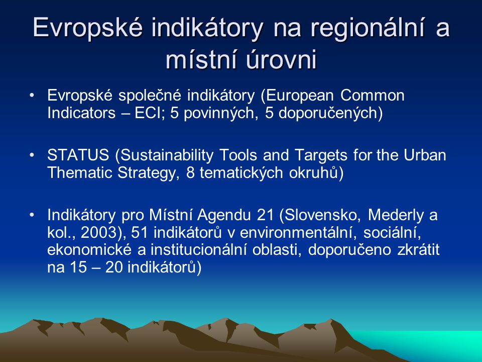 Evropské indikátory na regionální a místní úrovni