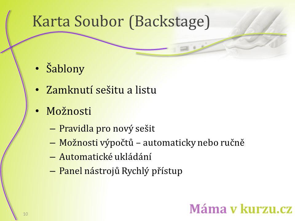 Karta Soubor (Backstage)