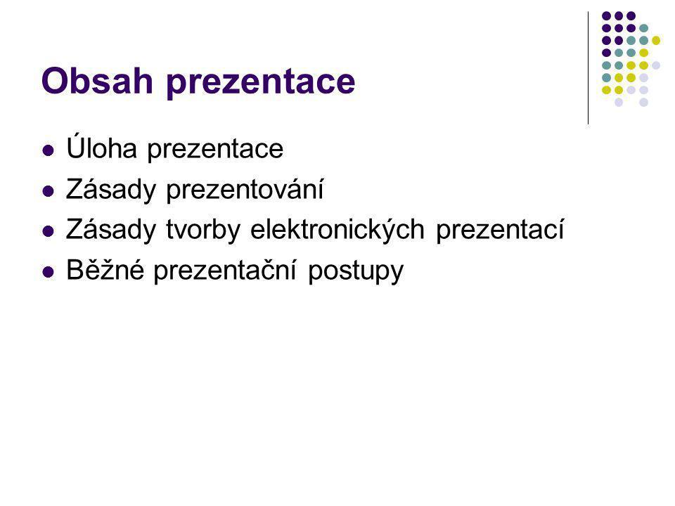 Obsah prezentace Úloha prezentace Zásady prezentování
