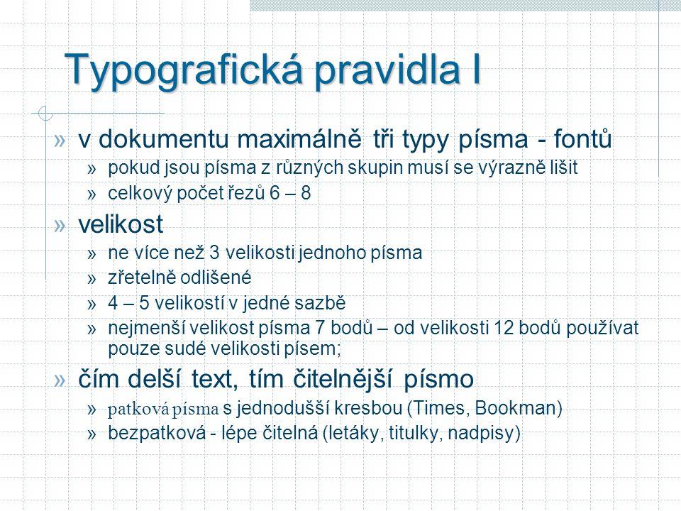 Typografická pravidla I