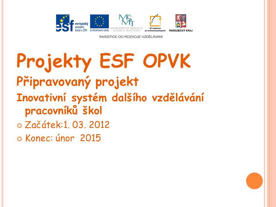 Projekty ESF OPVK Připravovaný projekt