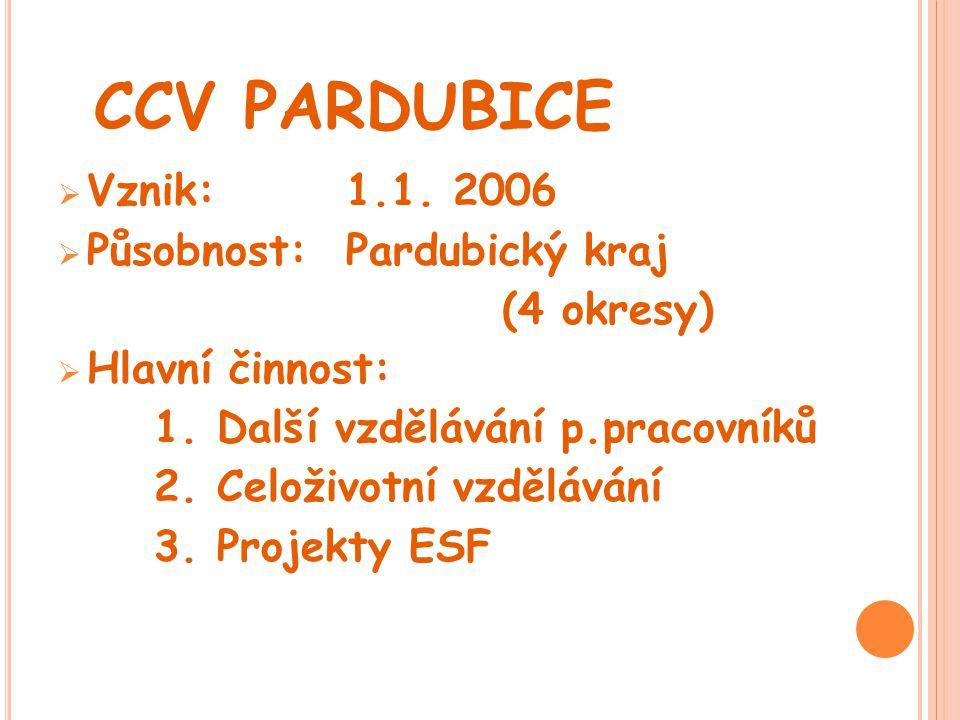 CCV PARDUBICE Vznik: 1.1. 2006 Působnost: Pardubický kraj (4 okresy)