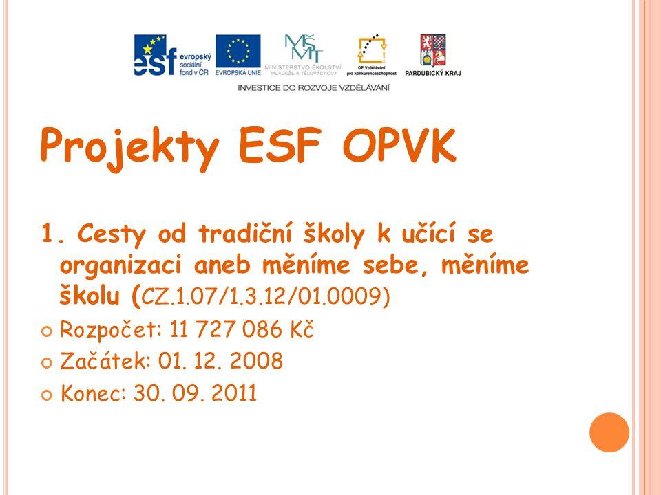 Projekty ESF OPVK 1. Cesty od tradiční školy k učící se organizaci aneb měníme sebe, měníme školu (CZ.1.07/1.3.12/01.0009)