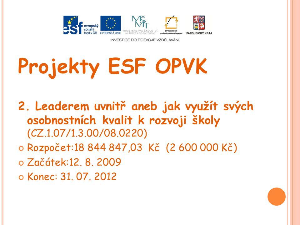 Projekty ESF OPVK 2. Leaderem uvnitř aneb jak využít svých osobnostních kvalit k rozvoji školy (CZ.1.07/1.3.00/08.0220)