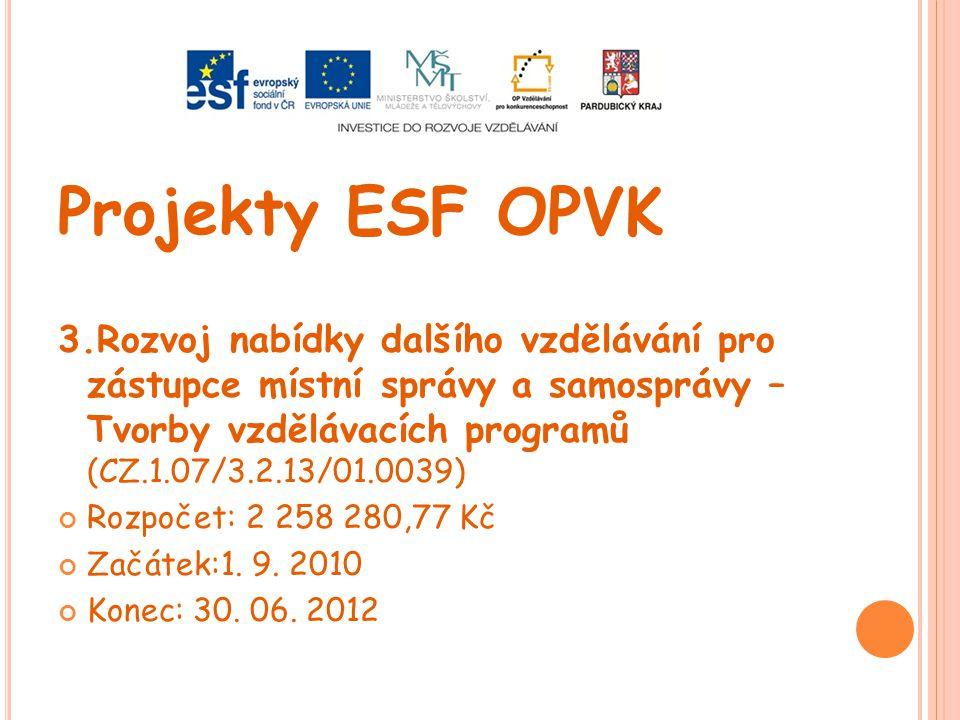 Projekty ESF OPVK