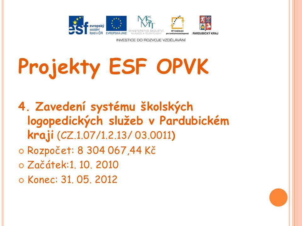 Projekty ESF OPVK 4. Zavedení systému školských logopedických služeb v Pardubickém kraji (CZ.1.07/1.2.13/ 03.0011)