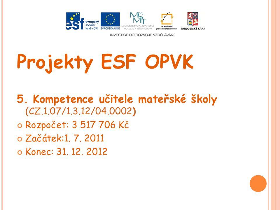 Projekty ESF OPVK 5. Kompetence učitele mateřské školy (CZ.1.07/1.3.12/04.0002) Rozpočet: 3 517 706 Kč.