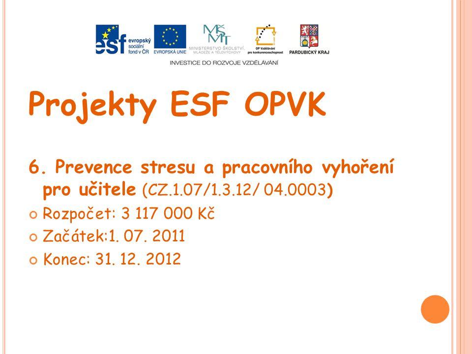 Projekty ESF OPVK 6. Prevence stresu a pracovního vyhoření pro učitele (CZ.1.07/1.3.12/ 04.0003) Rozpočet: 3 117 000 Kč.
