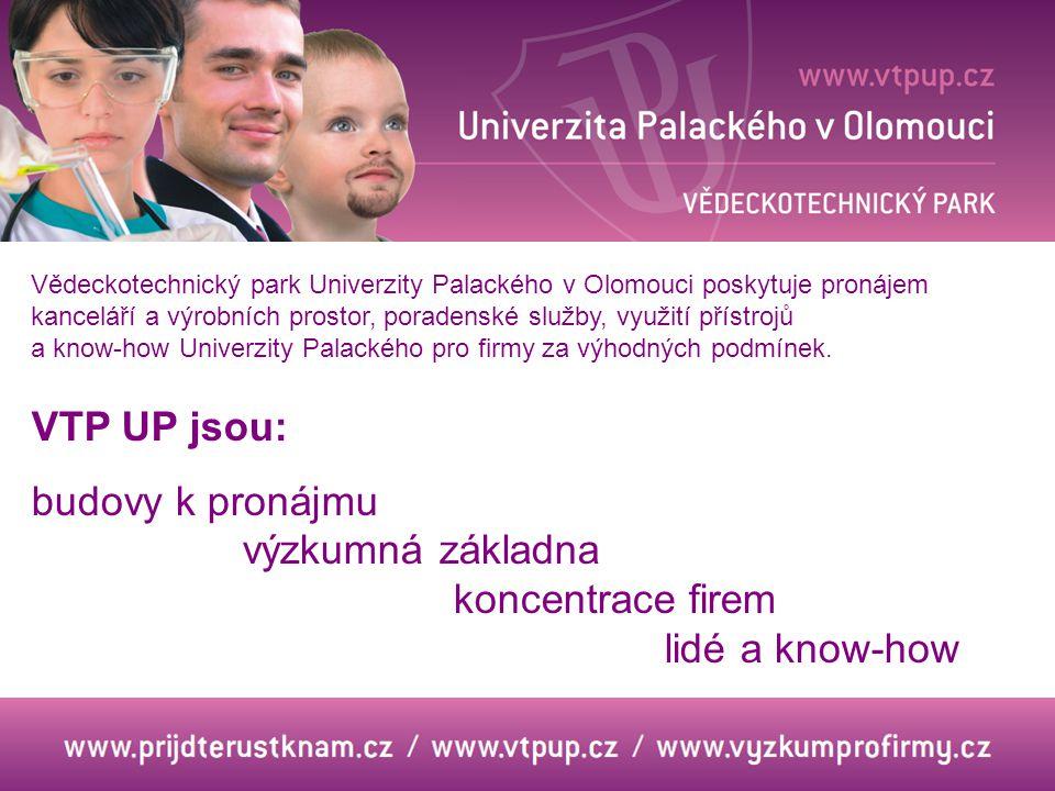 VTP UP jsou: budovy k pronájmu výzkumná základna koncentrace firem