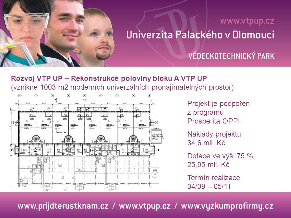 Rozvoj VTP UP – Rekonstrukce poloviny bloku A VTP UP (vznikne 1003 m2 moderních univerzálních pronajímatelných prostor)