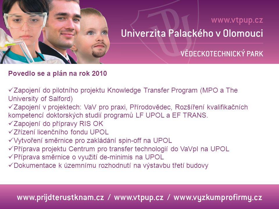 Povedlo se a plán na rok 2010 Zapojení do pilotního projektu Knowledge Transfer Program (MPO a The University of Salford)