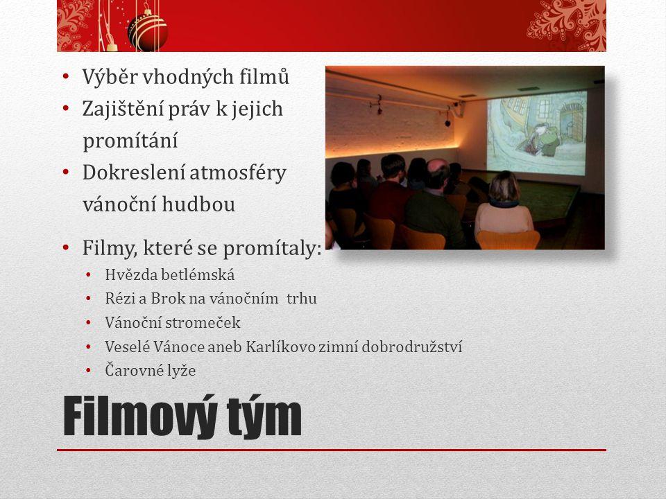 Filmový tým Výběr vhodných filmů Zajištění práv k jejich promítání