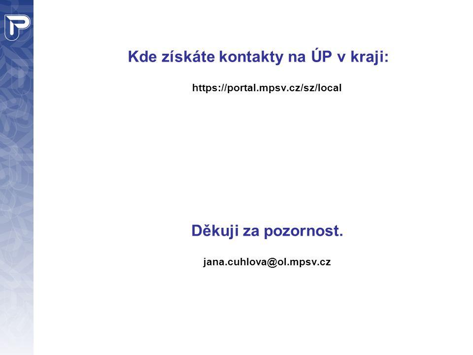 Kde získáte kontakty na ÚP v kraji: https://portal.mpsv.cz/sz/local