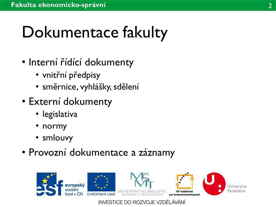 Dokumentace fakulty Interní řídící dokumenty Externí dokumenty