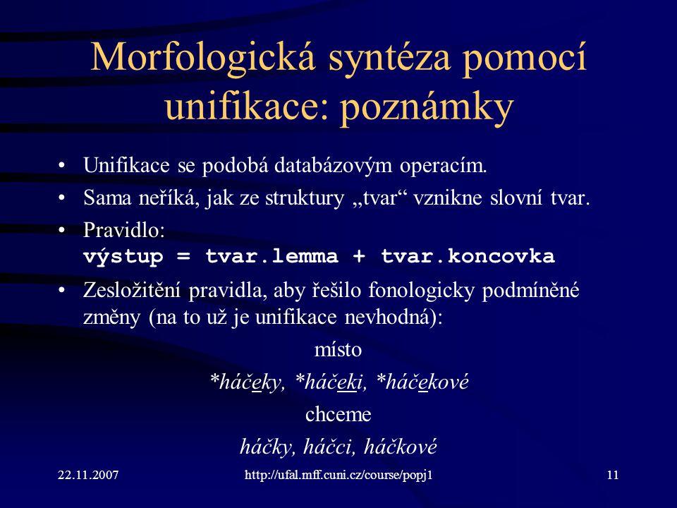 Morfologická syntéza pomocí unifikace: poznámky