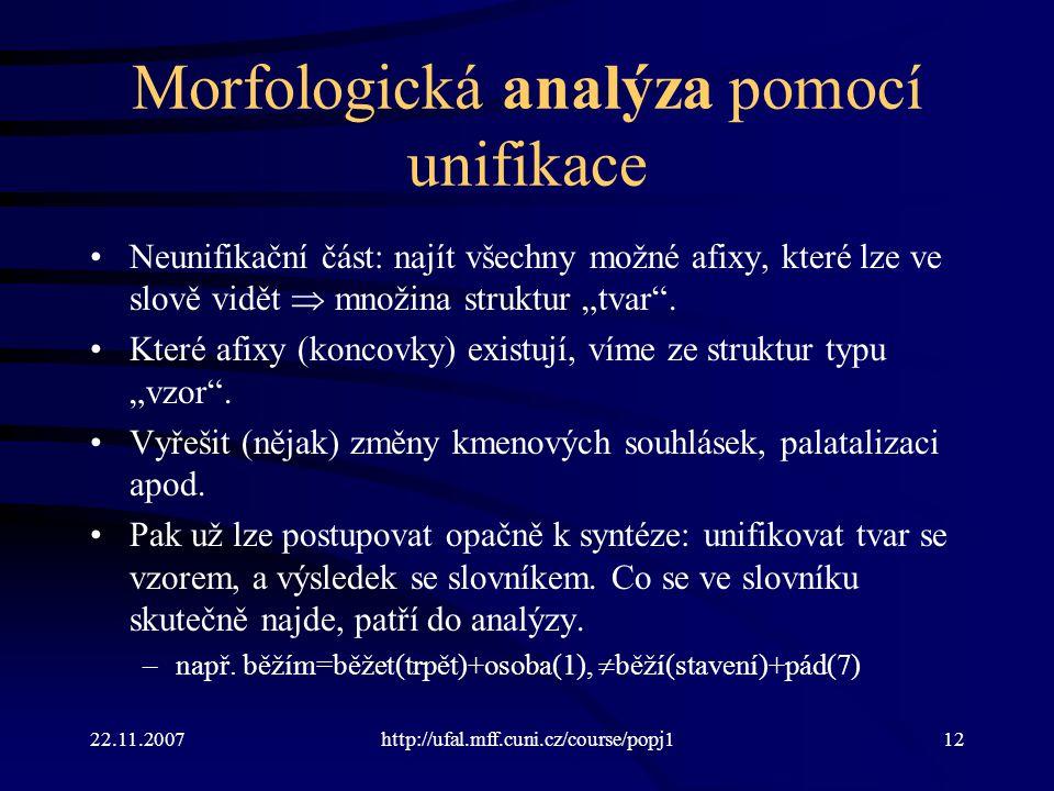 Morfologická analýza pomocí unifikace