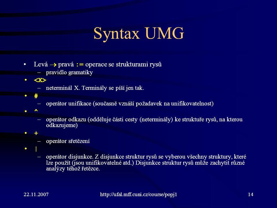 Syntax UMG Levá  pravá := operace se strukturami rysů <X> # ^ +