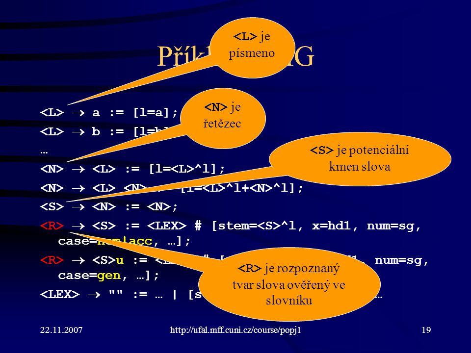 Příklad UMG <L> je písmeno <N> je řetězec