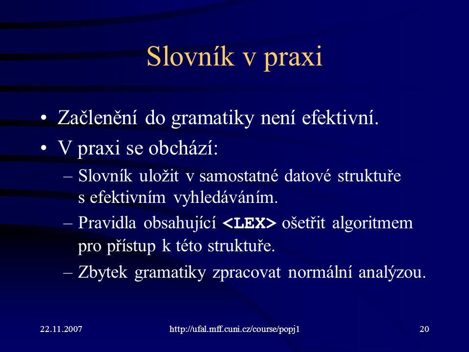 Slovník v praxi Začlenění do gramatiky není efektivní.