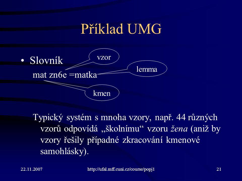 Příklad UMG Slovník mat zn6e =matka