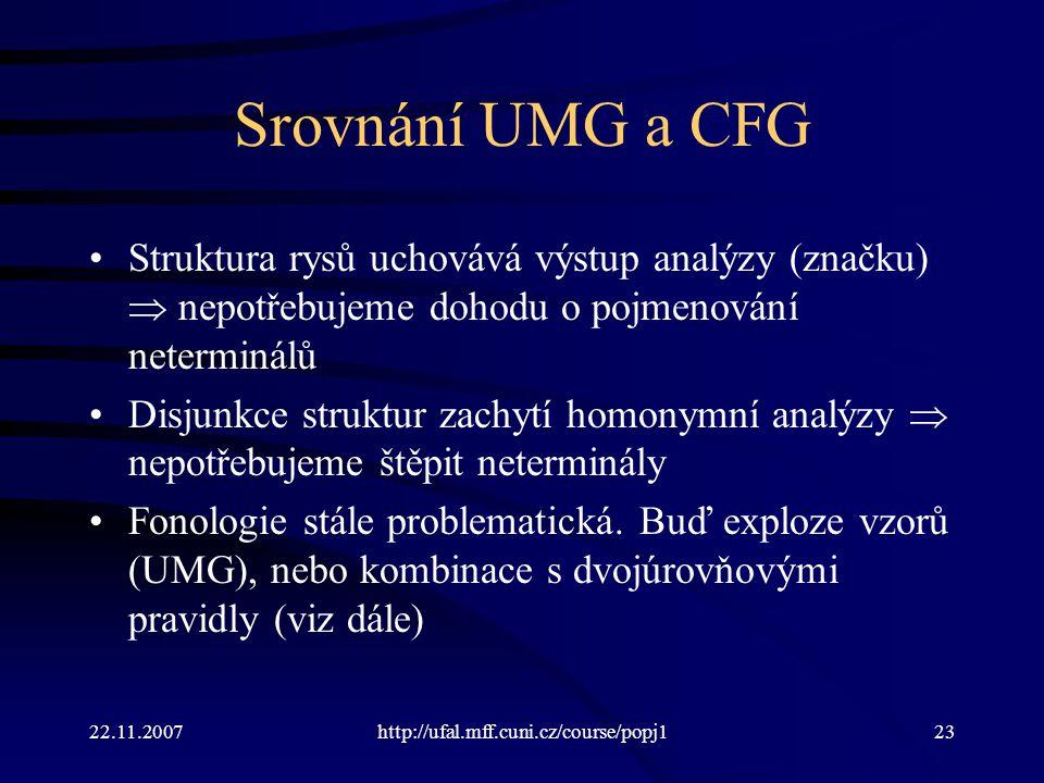 Srovnání UMG a CFG Struktura rysů uchovává výstup analýzy (značku)  nepotřebujeme dohodu o pojmenování neterminálů.