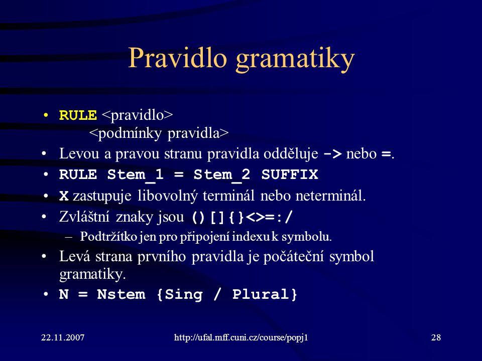 Pravidlo gramatiky RULE <pravidlo> <podmínky pravidla>