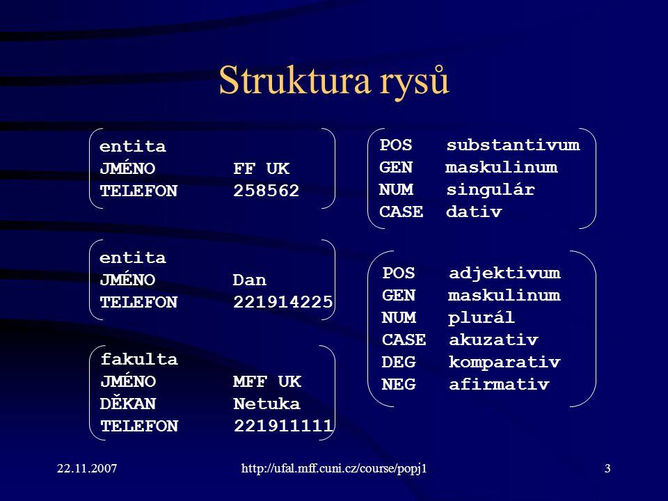 Struktura rysů entita POS substantivum JMÉNO FF UK GEN maskulinum