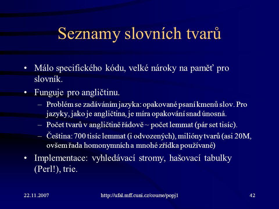 Seznamy slovních tvarů