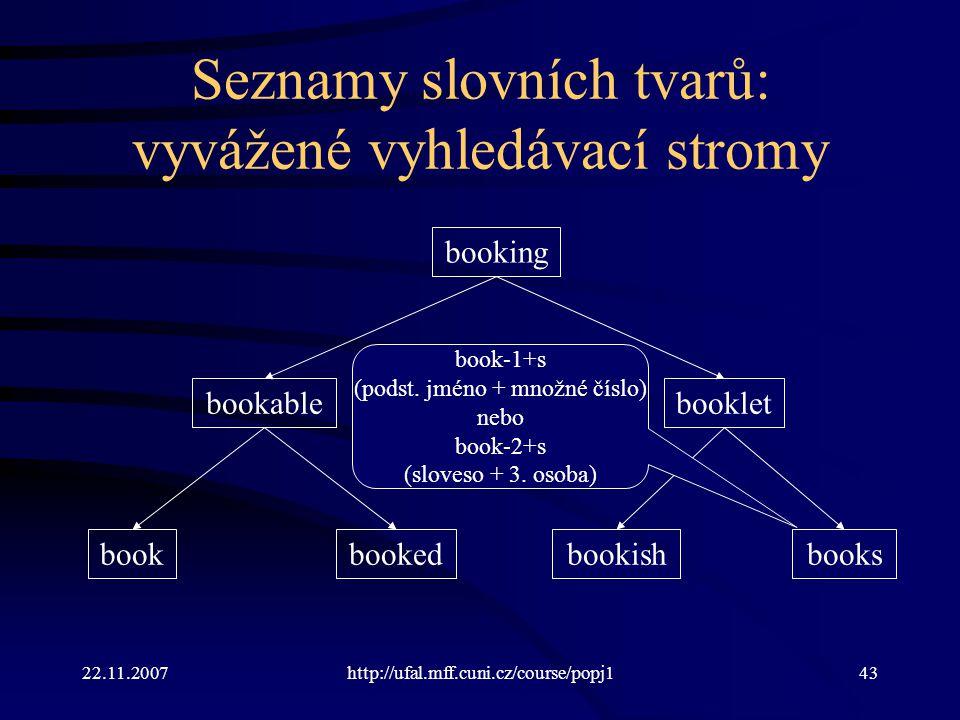 Seznamy slovních tvarů: vyvážené vyhledávací stromy