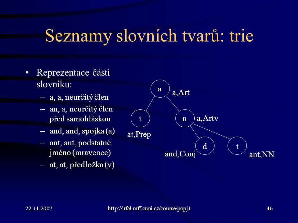Seznamy slovních tvarů: trie