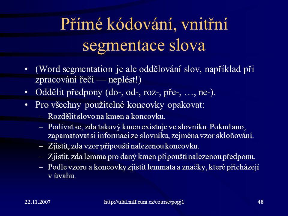 Přímé kódování, vnitřní segmentace slova