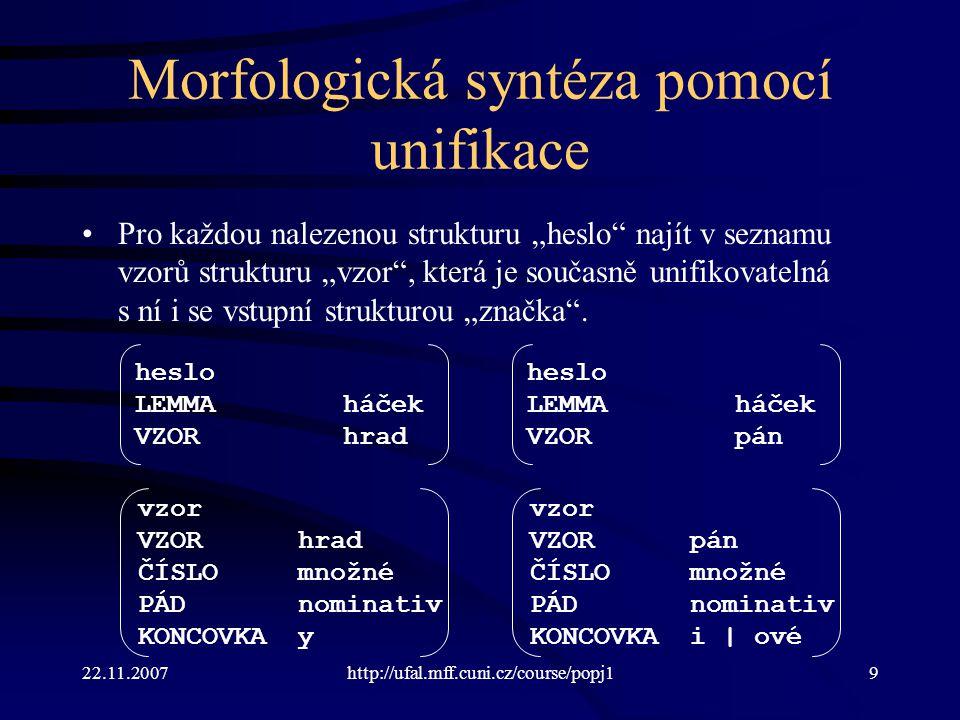 Morfologická syntéza pomocí unifikace