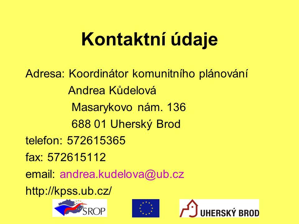 Kontaktní údaje Adresa: Koordinátor komunitního plánování