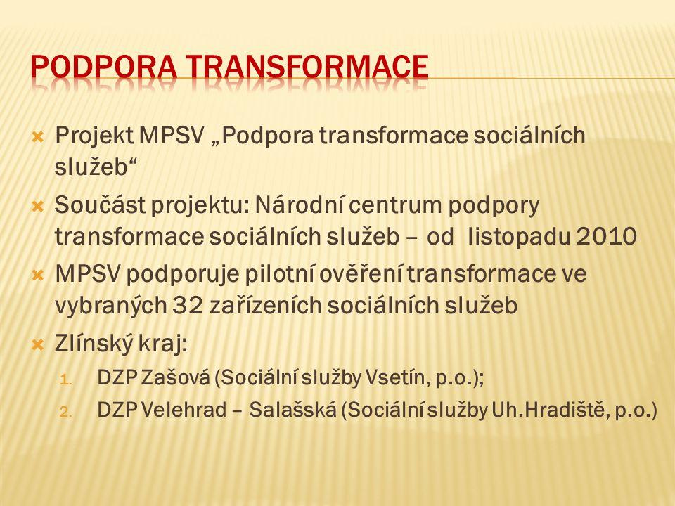 """Podpora transformace Projekt MPSV """"Podpora transformace sociálních služeb"""