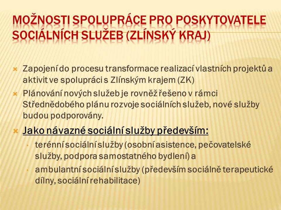 Možnosti spolupráce pro poskytovatele sociálních služeb (zlínský kraj)