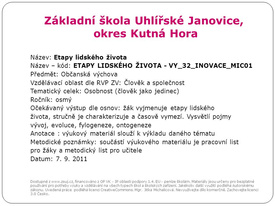 Základní škola Uhlířské Janovice, okres Kutná Hora