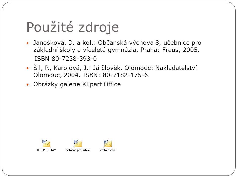 Použité zdroje Janošková, D. a kol.: Občanská výchova 8, učebnice pro základní školy a víceletá gymnázia. Praha: Fraus, 2005.
