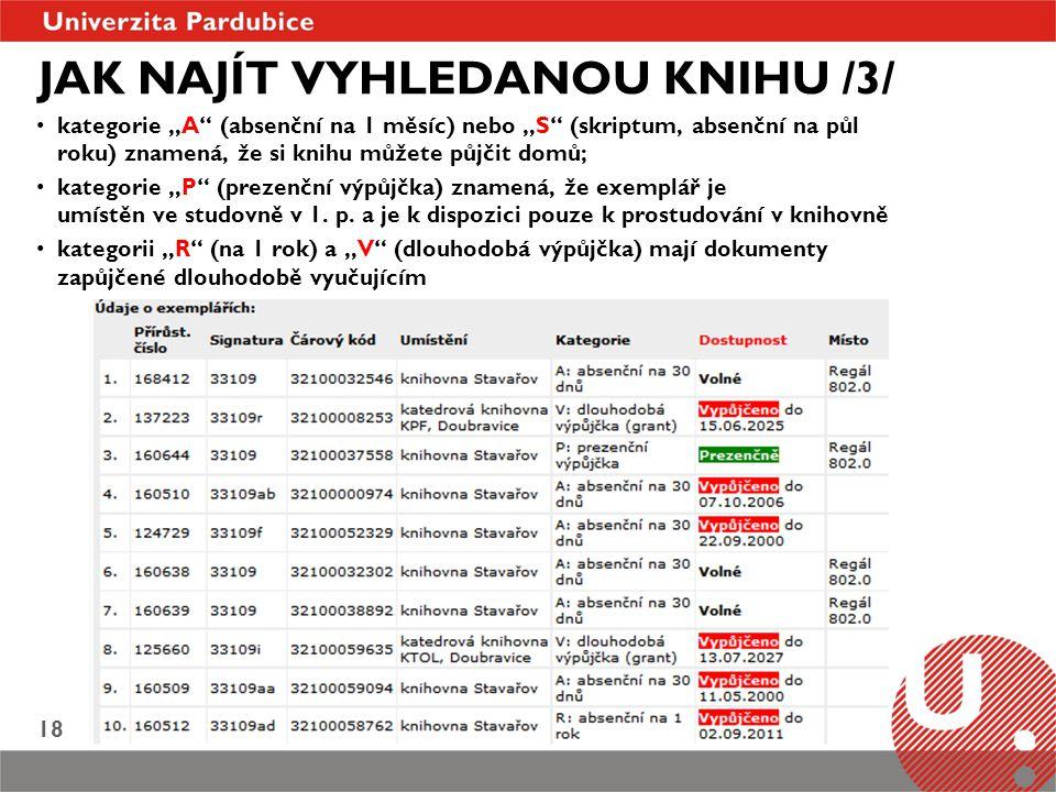JAK NAJÍT VYHLEDANOU KNIHU /3/