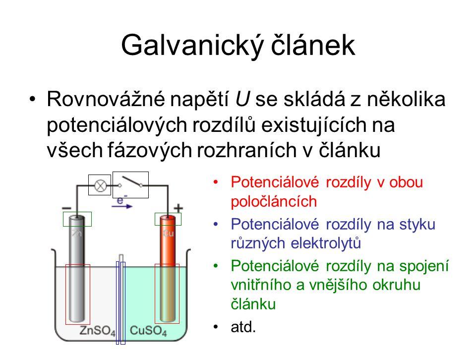 Galvanický článek Rovnovážné napětí U se skládá z několika potenciálových rozdílů existujících na všech fázových rozhraních v článku.