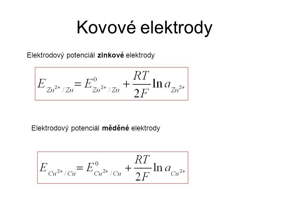 Kovové elektrody Elektrodový potenciál zinkové elektrody