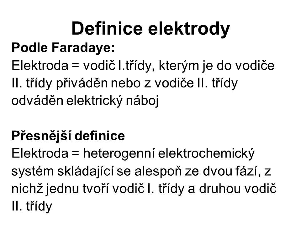Definice elektrody Podle Faradaye: