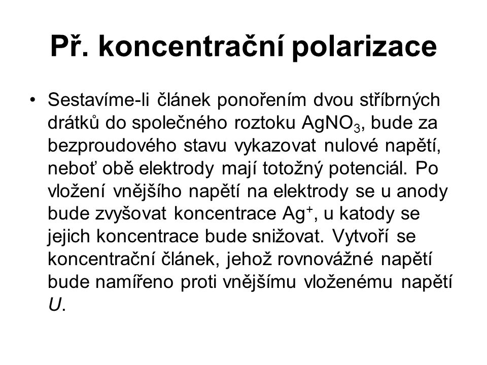 Př. koncentrační polarizace