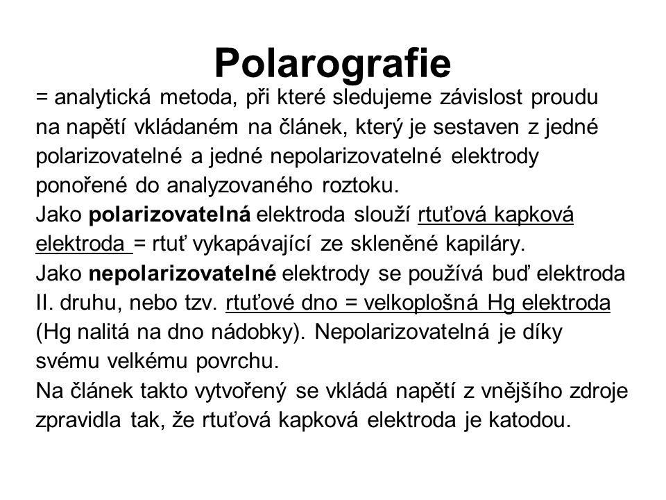 Polarografie = analytická metoda, při které sledujeme závislost proudu