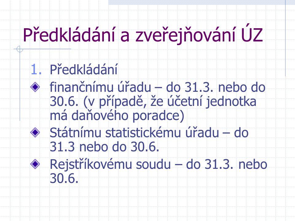 Předkládání a zveřejňování ÚZ