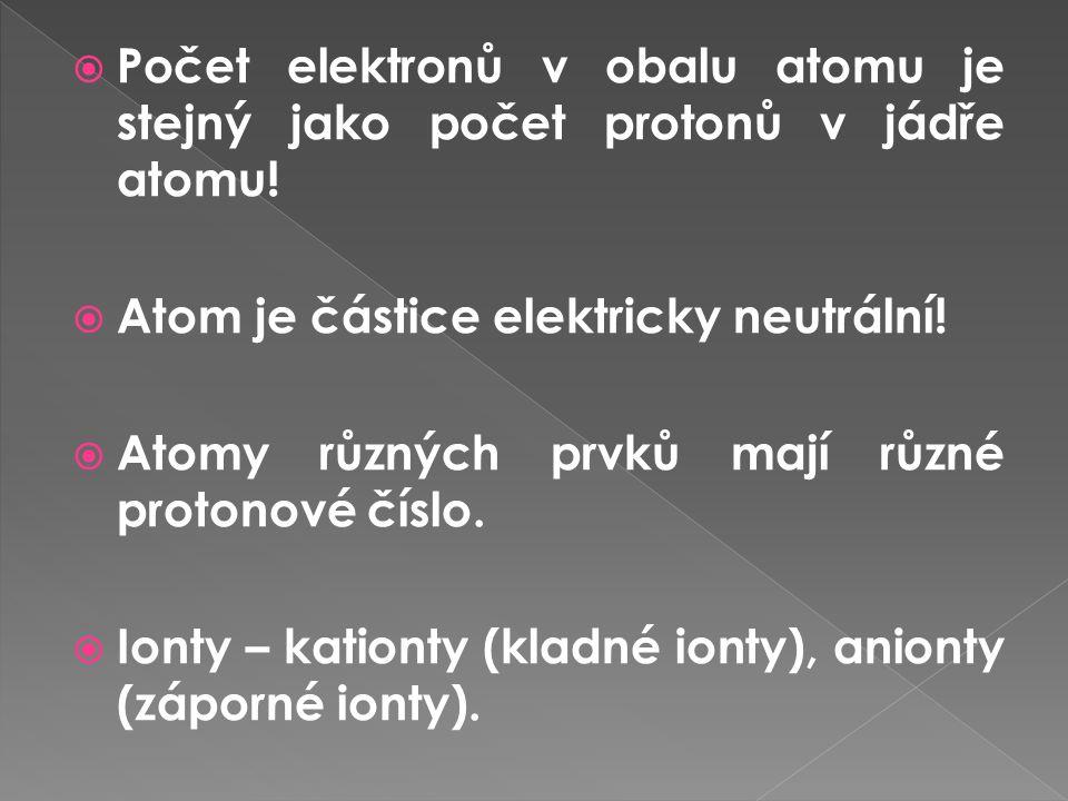 Počet elektronů v obalu atomu je stejný jako počet protonů v jádře atomu!