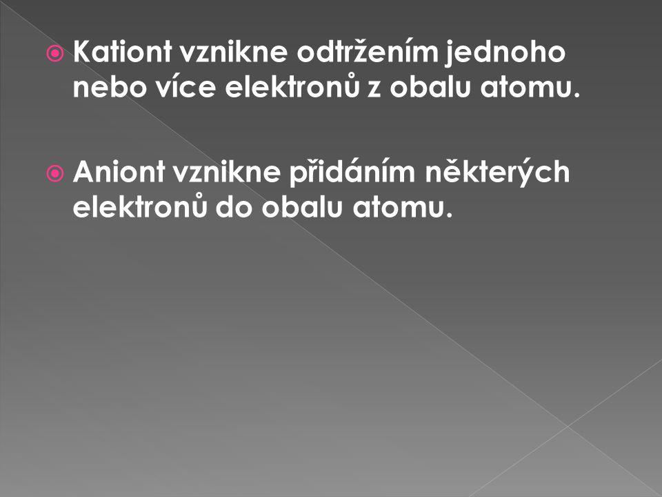 Kationt vznikne odtržením jednoho nebo více elektronů z obalu atomu.