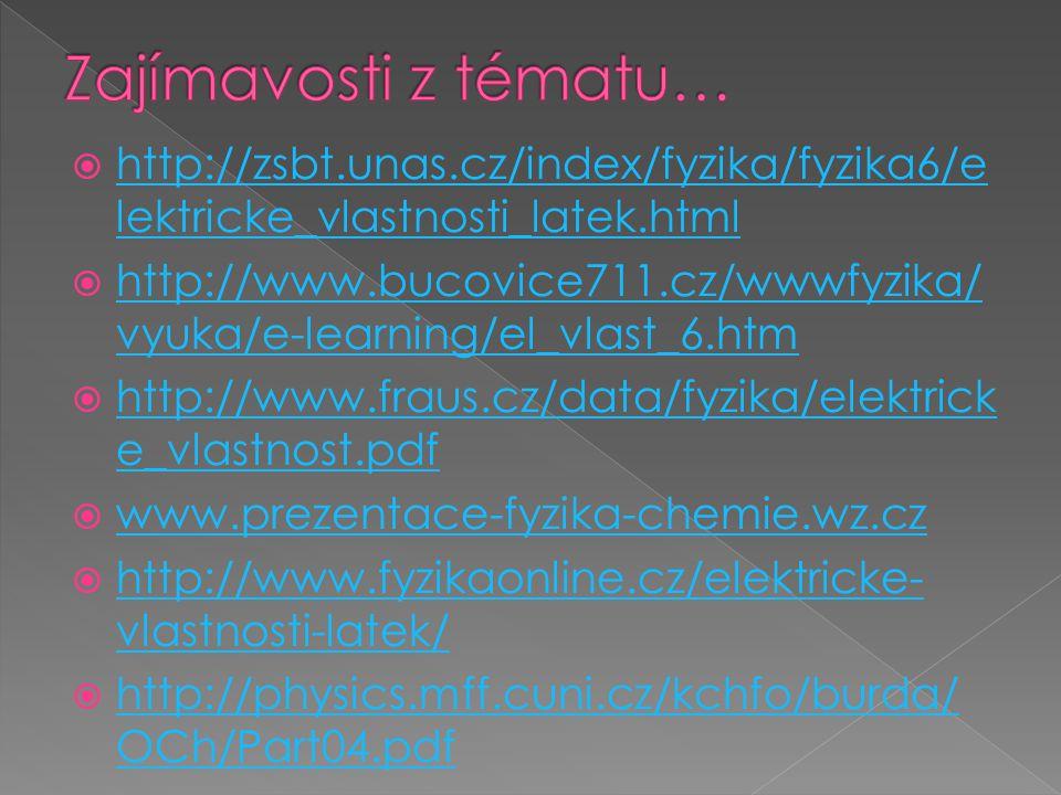 Zajímavosti z tématu… http://zsbt.unas.cz/index/fyzika/fyzika6/elektricke_vlastnosti_latek.html.